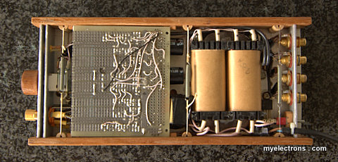 Headphone amplifier in its case, solder side view
